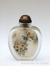 """2.94"""" Old Handmade Painted """"Birds & FLowers"""" Inside Painted Glass Snuff Bottle"""