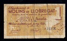 F.C. BILLETE DE MOLINS DE LLOBREGAT, 1 PTS. 1937. SERIE A. B/C-. SUCIO.
