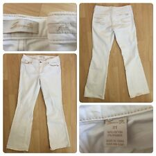 "SEVEN 7 Size 31 Flare Jeans Distressed Inseam 33"" Cotton Spandex 2% White"