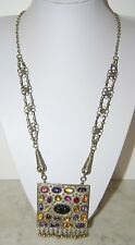 OLD LARGE BOLD ASIAN REVERSIBLE PENDANT SILVER TONED METAL AND STONES NECKLACE
