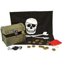 Melissa & Doug Wooden Pirate Chest Play Set, Hinged Treasure Chest & Accessories