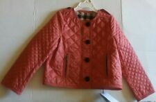 Burberry Children Collarless Diamond-Quilted Coral Red Jacket Size 6Y. New