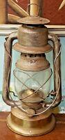 ANTIQUE PAGOMA TIN KEROSENE BARN LANTERN EMBOSSED TIN ORIGINAL SHIELD LAMP GLOBE
