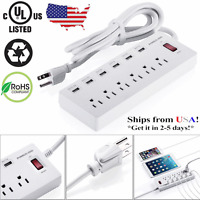 New Poweradd 6 USB Charging Ports & 6 Outlet Surge Protector Power Strip Socket