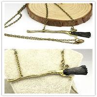 Harry Potter Deathly Hallows Firebolt Broomstick Broom Pendant Charm Necklace GA