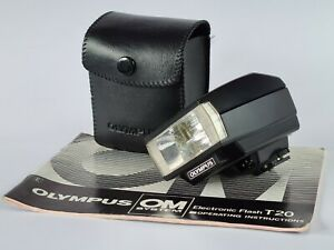 Olympus T20 Flashgun OM SLR Camera Flash, Case, Manual, Tested Very Good Working