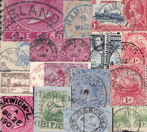 Bermuda POSTMARKS on stamp or piece 60 items - sold singly