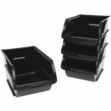 4 Pack Stackable Storage Bins w/ Hangers Workshop Garage Small Parts Organizer