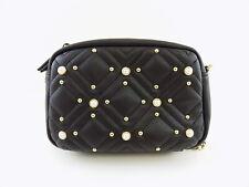 INC QUINN Black IMITATION PEARL STUDDED Crossbody Handbag