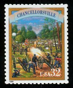 #2975p 32c Chancellorsville, Mint ANY 4=
