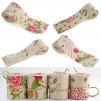 Bertie's Bows Vintage Print Burlap Hessian Jute Ribbon 50mm Wide Floral Roses