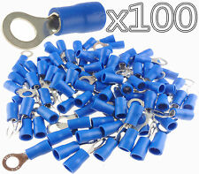 100 Car Ground Wire Ring Terminals Vinyl Blue 16-14 Gauge AWG Ga Connectors USA