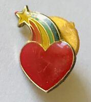 Love Heart Rainbow Star Small Pin Badge Rare Vintage Novelty (E11)