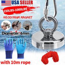 Upto 1500lbs Big Fishing Magnet Kit Pulling Force Strong Neodymium Rope Ampglove