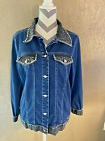 Quaker Factory Womens Blue Beaded Long Sleeve Collared Jacket Size Large