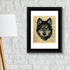 Wall Decoration Frames Wolf Newspaper Animal Poster Art Office Home Décor