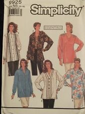 Easy VTG 90 SIMPLICITY 9925 MS/Womens Trim Variation Tunics PATTERN 10-18 UC