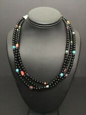 Native American Sterling Silver  Black Onyx, Turquoise ,Coral Bead Necklace