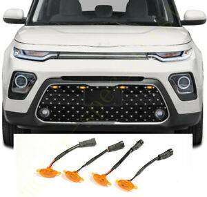 New For Kia Soul 2020-2021 Front Grille LED Amber Light Raptor Grill Cover 4PCS