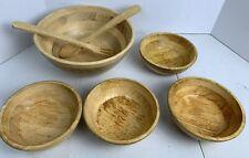 Wood Wooden Vintage Salad Serving Bowls And Utensils Dinner Set Of 7 Spoon Fork