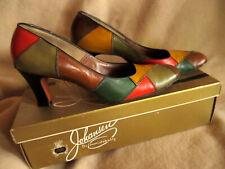 7.5 Aa Vtg 70s Johansen Patchwork Colorful Harelequin Mod Pumps Shoes Leather