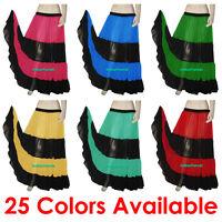 Red & Black Chiffon 6 Yard 4 Tiered Gypsy Skirt Belly Dance Tribal Flamenco AUS