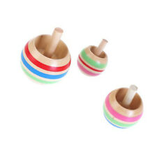 3pcs Wooden Colorful Spinning Top Kids Toy 3 Sizes for Children