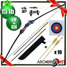 "46"" Youth Archery Set Junior Kids Longbow / Recurve 15 lb Bonus Value Pack"