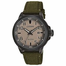 Citizen Eco-Drive Men's AW1465-14H Beige Dial Green Nylon Strap 43mm Watch