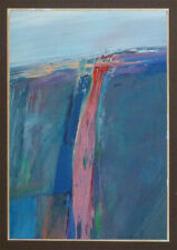 Original OIL PAINTING signed MUNOZ '83 abstract expressionist BEAUTIFUL 5.5 x 8""