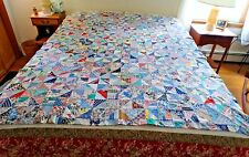 Antique or Vintage HAND MADE CRAZY QUILT TOP PATCHWORK 74 X 58
