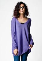 New ex ASOS Purple Oversized Relaxed Semi-Sheer Knit V Neck Jumper RRP£25 4 - 28