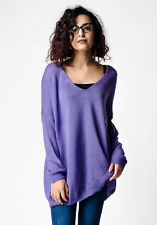 New ex ASOS Purple Oversized Relaxed Semi-Sheer Knit V Neck Jumper RRP£25 4 - 28