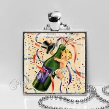 Vintage Happy New Year Baby Champagne Bottle Handmade Pendant Necklace