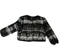 R & M Richards Womens Jacket Small Black Silver Sequined Bolero Party Cocktail