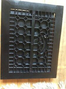 Antique Vintage Cast Iron Floor Grate Heating Vent with louvers register