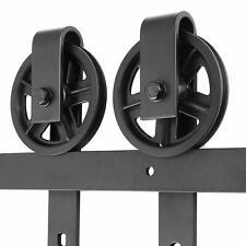 6.6ft Barn Door Hardware Big Wheel Slid Heavy Duty Single Rail Roller Track Kit