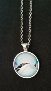 Piano Keyboard Pastel Glass Dome Pendant Chain Necklace (Music Gift)