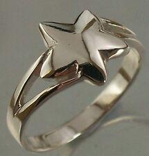 925 Sterling Silver Star Design Ring US Size 5 1/2  AU K 1/2 Band width 2.5mm