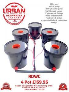 20L 4 Pot Urban RDWC Deep Water Culture Hydroponic Bubbler System Alien IWS RUSH