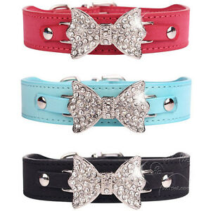 Dog Collar Bling Crystal leather Pet Collar Puppy Choker Cat Necklace SIze S M L