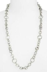 NEW MICHAEL KORS SILVER TONE LONG CHAIN LINK,CRYSTALS,MK CHARM NECKLACE MKJ3458