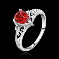 925 Sterling Silver Filled Inlay Red Crystal Filigree Engagement Wedding Ring