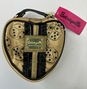 Betsey Johnson Betseyville Lucky Lady Gold Make-Up Bag Brand New NWT