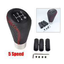 Universal Car 5 Speed Line Leather Aluminum Manual Gear Shift Knob Shifter Lever