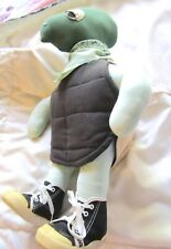 """Vintage Stuffed Turtle Wearing Sneakers. 17"""" Tall, Leather-Like Shell on Back"""