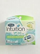 6 pack Schick Intuition Plus Razor Cartridges Refills Cucumber Melon Solid