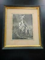 Gravure ancienne Rembrandt 1633 La grande descente de croix eau forte inversée