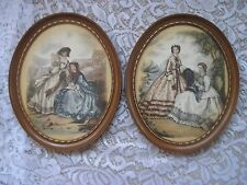 Stunning Colorful Vintage Pair French Fashion Prints in Ornate Oval Frames