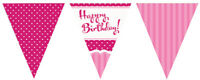 12ft PERFECTLY PINK HAPPY BIRTHDAY PARTY FLAG BUNTING AGE LESS DECORATION PAPER